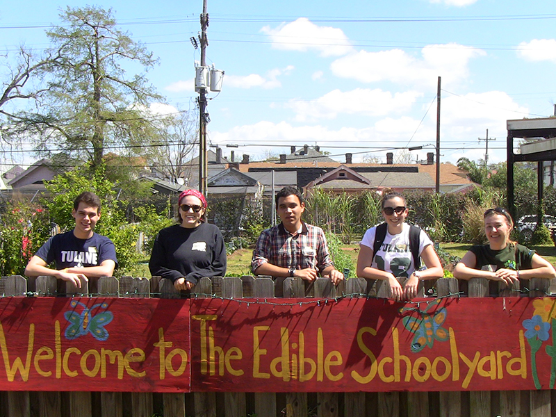 Tulane students earning leadership credits at the Edible Schoolyard